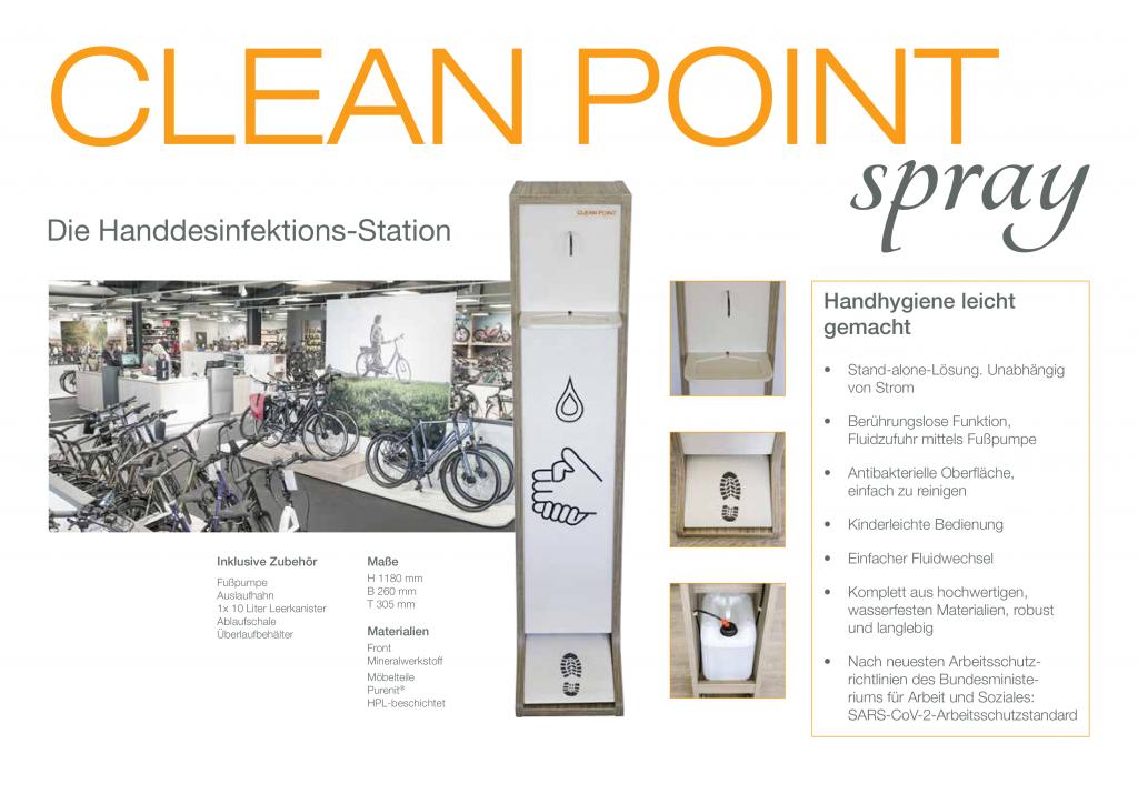 Cleanpoint spray - die Handhygiene-Station